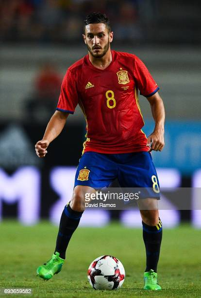 Jorge Resureccion 'Koke' of Spain runs with the ball during a friendly match between Spain and Colombia at La Nueva Condomina stadium on June 7 2017...