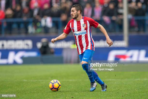 Jorge Resurreccion Merodio Koke of Atletico de Madrid runs with the ball during the match Atletico de Madrid vs Valencia CF a La Liga match at the...