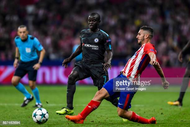 Jorge Resurreccion Merodio Koke of Atletico de Madrid vies for the ball with N'Golo Kante of Chelsea FC during the UEFA Champions League 201718 match...