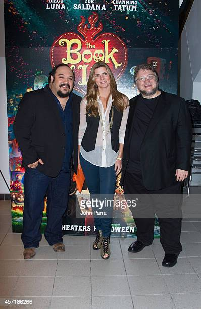 Jorge RGutierrez Montserrat Oliver and Guillermo del Toro attend The Book Of Life red carpet screening at Regal South Beach on October 13 2014 in...