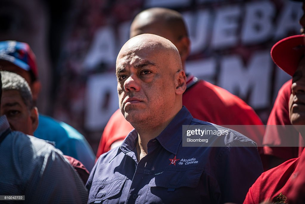 Jorge Rodriguez a socialist politician and current mayor of the Libertador municipality in Caracas attends a progovernment rally in Caracas Venezuela...