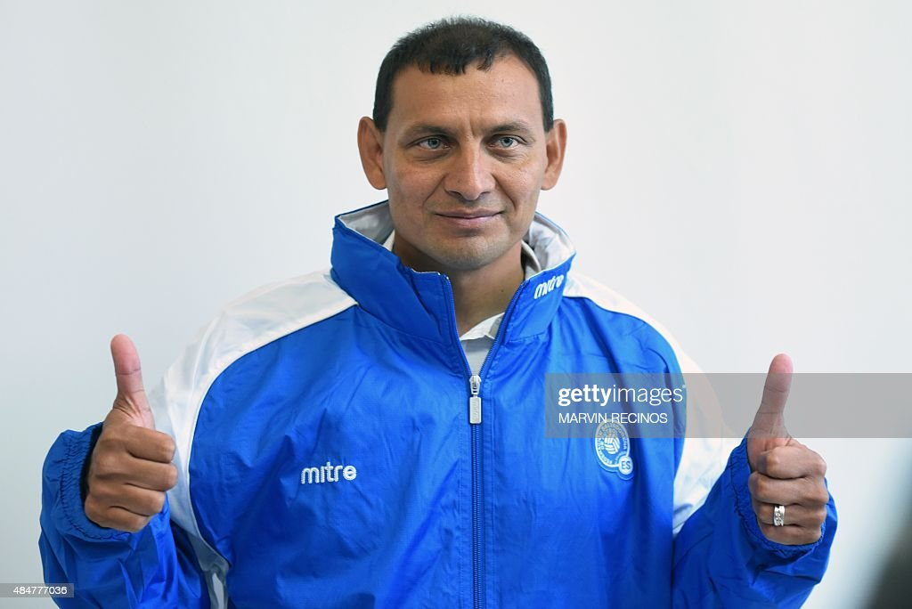 Jorge Rodriguez gestures as he is presented as new coach of El Salvador national football team in San Salvador on August 21 2015 Rodriguez replaces...