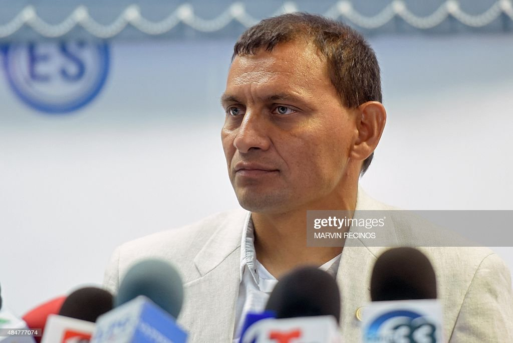 Jorge Rodriguez listens to questions as he is presented as new coach of El Salvador national football team in San Salvador on August 21 2015...