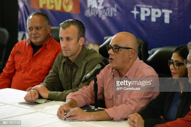 Jorge Rodriguez mayor of Libertador municipality in Caracas and leader of the progovernment United Socialist Party of Venezuela speaks next to member...