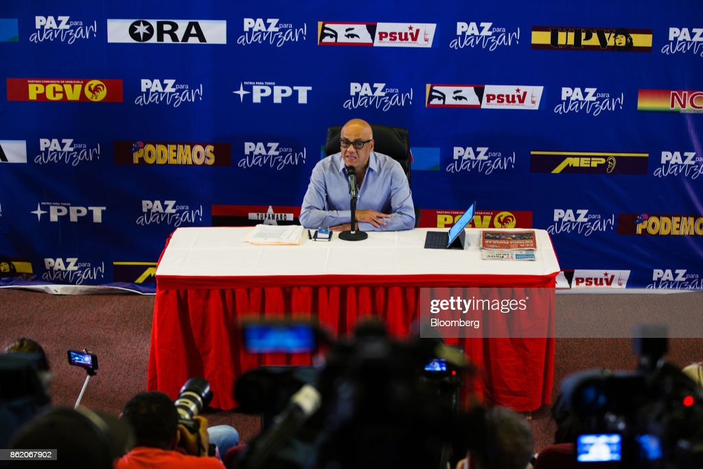 Mayor Of The Libertador Municipality Jorge Rodriguez Holds Press Conference Amid Contested Regional Election Results