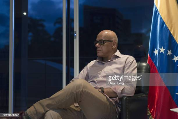 Jorge Rodriguez mayor of the Libertador Municipality in Caracas listens during an interview in Caracas Venezuela on Tuesday Aug 15 2017 Rodriguez...