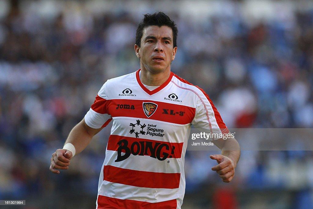 Jorge Rodriguez of Jaguares celebrates score a goal during a match between Queretaro and Jaguares as part of the 2013 Clausura Tournament League MX...