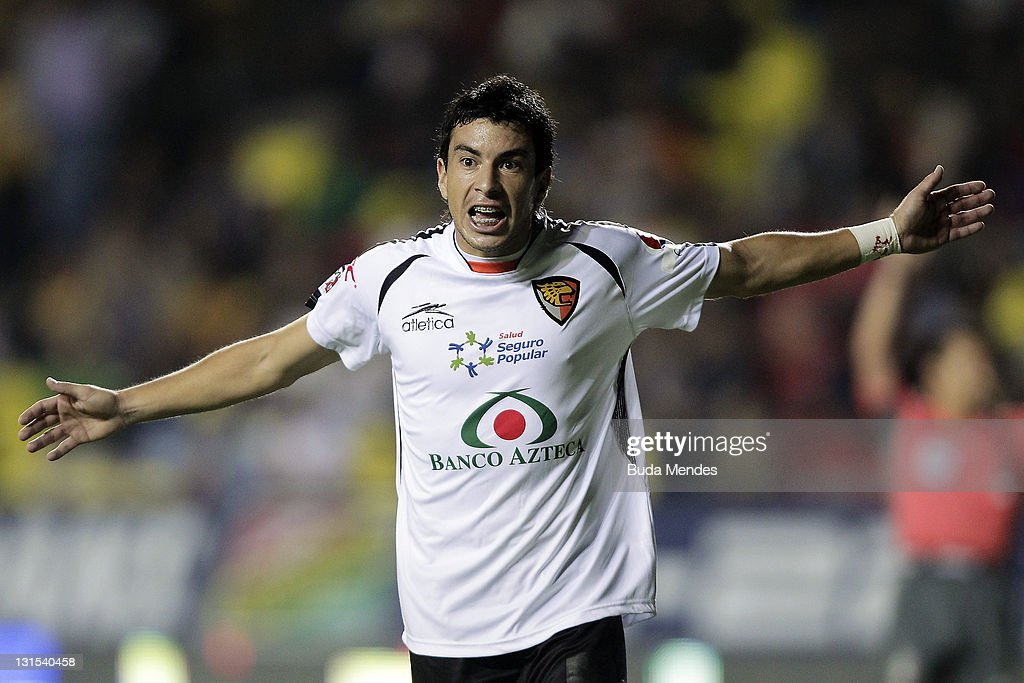 Jorge Rodriguez of Jaguares reacts during a match between Morelia and Jaguares as part of Serie A 2011 at Morelos stadium on November 04 2011 in...