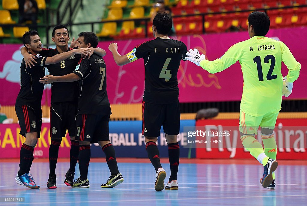 Jorge Rodriguez of Mexico celebrates scoring a goal during the FIFA Futsal World Cup Thailand 2012 Group D match between Argentina and Mexico at...