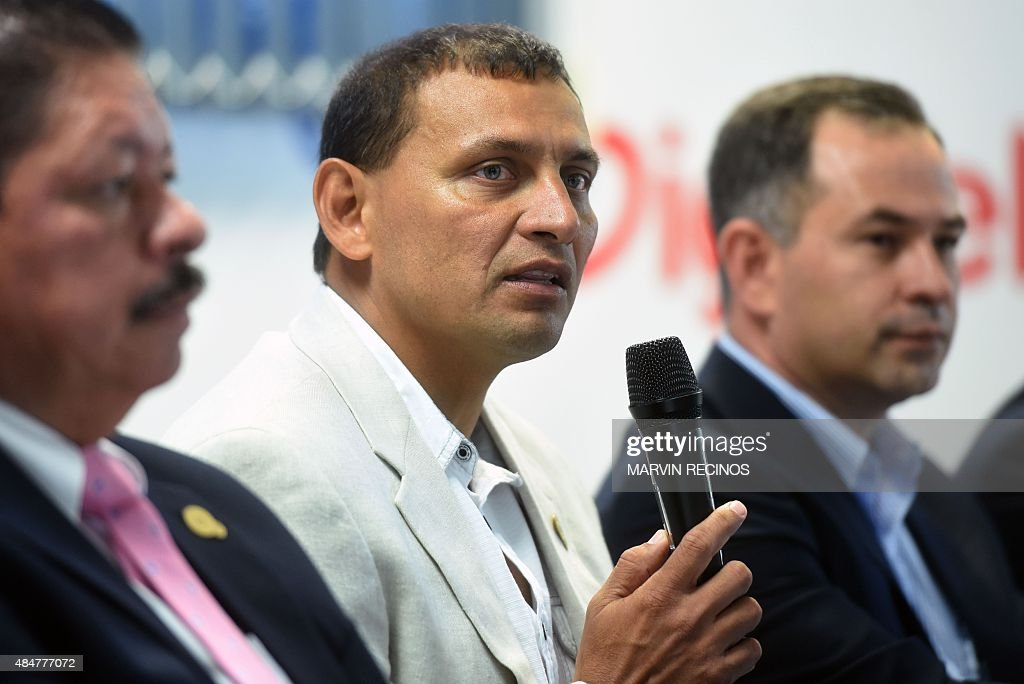 Jorge Rodriguez speaks as he is presented as new coach of El Salvador national football team in San Salvador on August 21 2015 Rodriguez replaces...