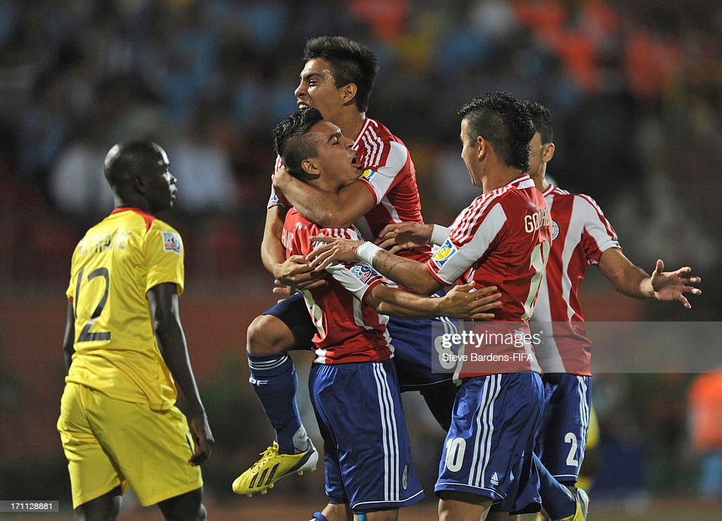 Jorge Rojas of Paraguay (1stL) celebrates scoring a goal with his team mates during the FIFA U20 World Cup Group D match between Paraguay and Mali at Kamil Ocak Stadium on June 22, 2013 in Gaziantep, Turkey.