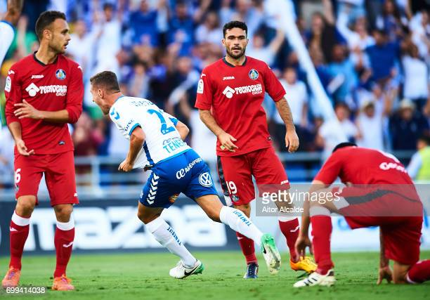 Jorge Saenz of CD Tenerife celebrates after scoring during La Liga 2 play off round between CD Tenerife and Getafe CF at Heliodoro Rodriguez Lopez...