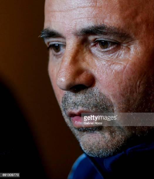 Jorge Samapoli coach of Argentina looks on during his presentation as new Argentina coach at Argentine Football Association 'Julio Humberto Grondona'...