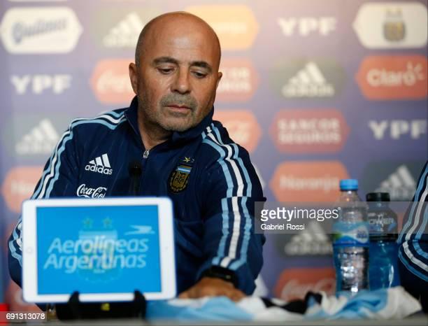 Jorge Samapoli coach of Argentina speaks during his presentation as new Argentina coach at Argentine Football Association 'Julio Humberto Grondona'...