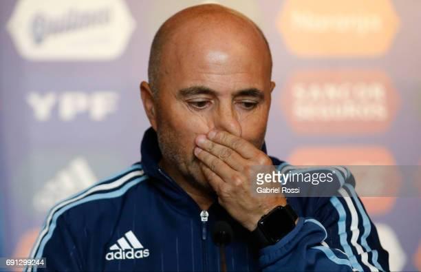 Jorge Samapoli coach of Argentina talks during his presentation as new Argentina coach at Argentine Football Association 'Julio Humberto Grondona'...