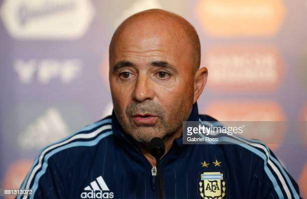 Jorge Samapoli coach of Argentina talks during his presentation as new Argentina coach at Argentine Football Association 'Julio Humberto Grondona'...