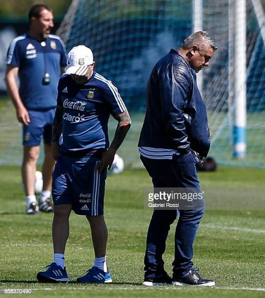 Jorge Sampaoli coach of Argentina and Claudio Tapia President of AFA looks on during a training session at Argentine Football Association 'Julio...