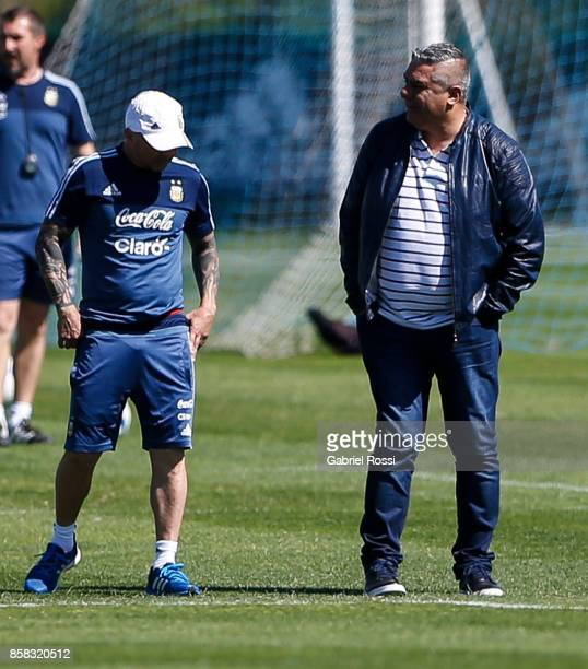 Jorge Sampaoli coach of Argentina and Claudio Tapia President of AFA talk during a training session at Argentine Football Association 'Julio Humberto...