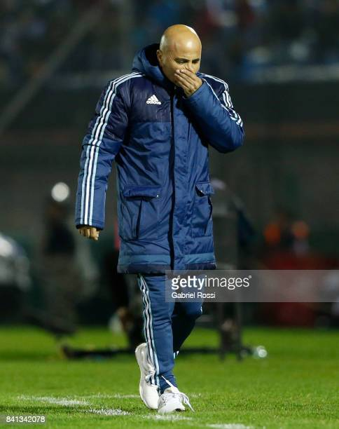 Jorge Sampaoli coach of Argentina gestures during a match between Uruguay and Argentina as part of FIFA 2018 World Cup Qualifiers at Centenario...