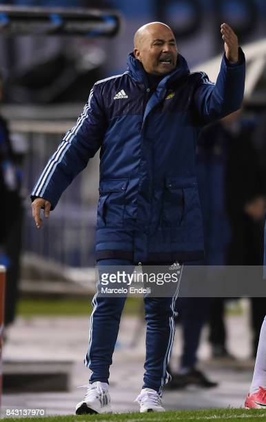 Jorge Sampaoli coach of Argentina gestures during a match between Argentina and Venezuela as part of FIFA 2018 World Cup Qualifiers at Monumental...