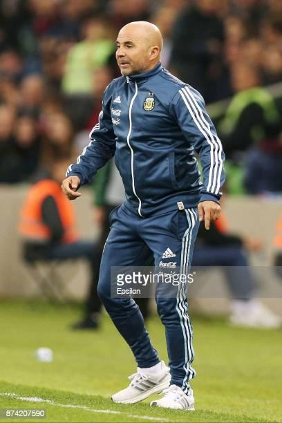 Jorge Sampaoli coach of Argentina gestures during an international friendly match between Argentina and Nigeria at Krasnodar Stadium on November 14...