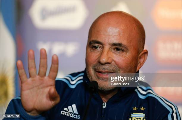 Jorge Sampaoli coach of Argentina gestures during his presentation as new Argentina coach at Argentine Football Association 'Julio Humberto Grondona'...