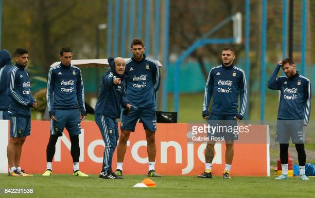 Jorge Sampaoli coach of Argentina gives instructions during a training session at 'Julio Humberto Grondona' training camp on September 03 2017 in...