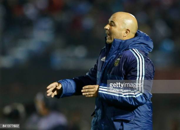 Jorge Sampaoli coach of Argentina gives instructions to his players during a match between Uruguay and Argentina as part of FIFA 2018 World Cup...