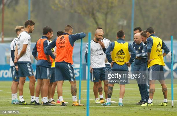 Jorge Sampaoli coach of Argentina gives instructions to his players during a training session at 'Julio Humberto Grondona' training camp on September...