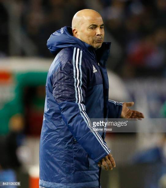 Jorge Sampaoli coach of Argentina gives instructions to his players during a match between Argentina and Venezuela as part of FIFA 2018 World Cup...