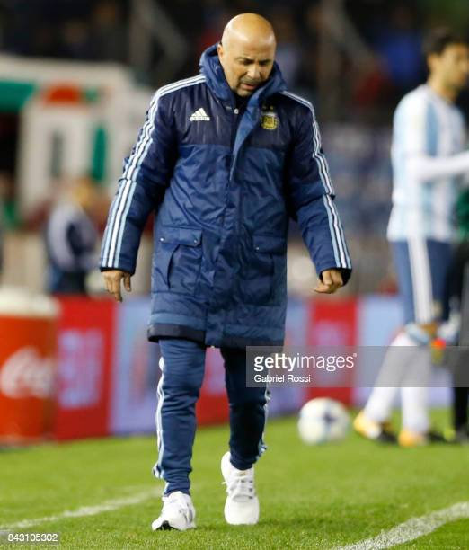 Jorge Sampaoli coach of Argentina looks on during a match between Argentina and Venezuela as part of FIFA 2018 World Cup Qualifiers at Monumental...