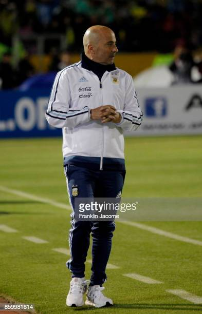 Jorge Sampaoli coach of Argentina looks on during a match between Ecuador and Argentina as part of FIFA 2018 World Cup Qualifiers at Olimpico...