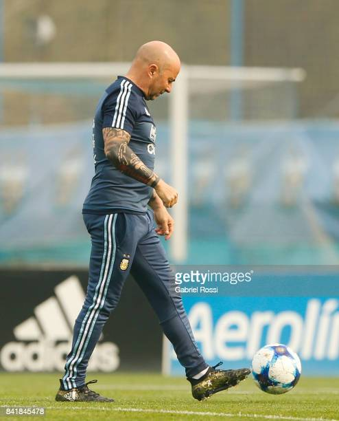 Jorge Sampaoli coach of Argentina looks on during a training session at 'Julio Humberto Grondona' training camp on September 02 2017 in Ezeiza...