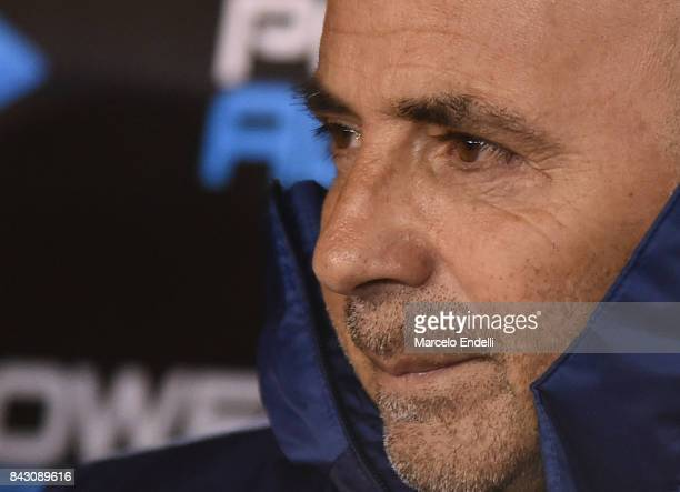 Jorge Sampaoli coach of Argentina looks on prior a match between Argentina and Venezuela as part of FIFA 2018 World Cup Qualifiers at Monumental...