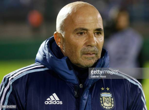 Jorge Sampaoli coach of Argentina looks on prior to the match between Uruguay and Argentina as part of FIFA 2018 World Cup Qualifiers at Centenario...