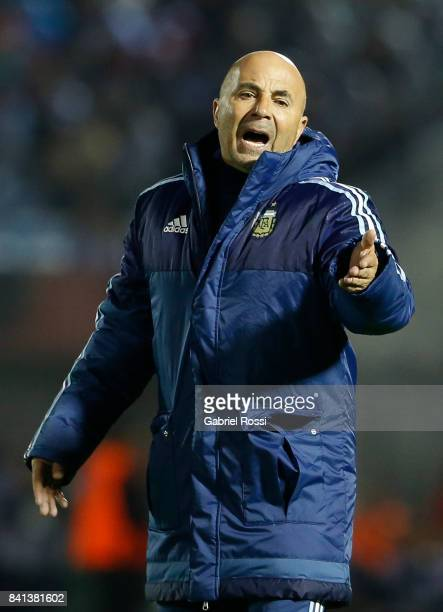 Jorge Sampaoli coach of Argentina reacts during a match between Uruguay and Argentina as part of FIFA 2018 World Cup Qualifiers at Centenario Stadium...