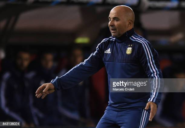 Jorge Sampaoli coach of Argentina reacts during a match between Argentina and Venezuela as part of FIFA 2018 World Cup Qualifiers at Monumental...