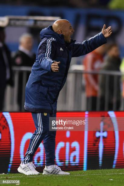 Jorge Sampaoli coach of Argentina shouts instructions to his players during a match between Argentina and Venezuela as part of FIFA 2018 World Cup...