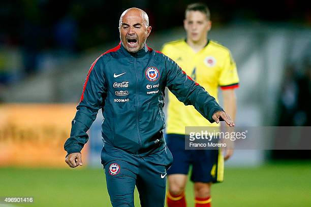 Jorge Sampaoli coach of Chile gestures during a match between Chile and Colombia as part of FIFA 2018 World Cup Qualifier at Nacional Julio Martinez...