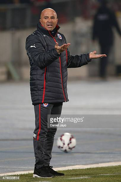 Jorge Sampaoli coach of Chile gestures during the 2015 Copa America Chile Semi Final match between Chile and Peru at Nacional Stadium on June 29 2015...