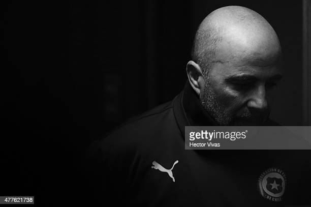 Jorge Sampaoli coach of Chile looks on during a press conference at Nacional Stadium on June 18 2015 in Santiago Chile Chile will face Bolivia as...