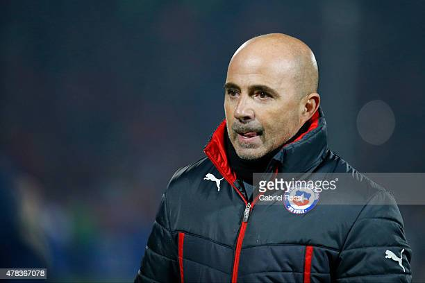 Jorge Sampaoli coach of Chile looks on during the 2015 Copa America Chile quarter final match between Chile and Uruguay at Nacional Stadium on June...