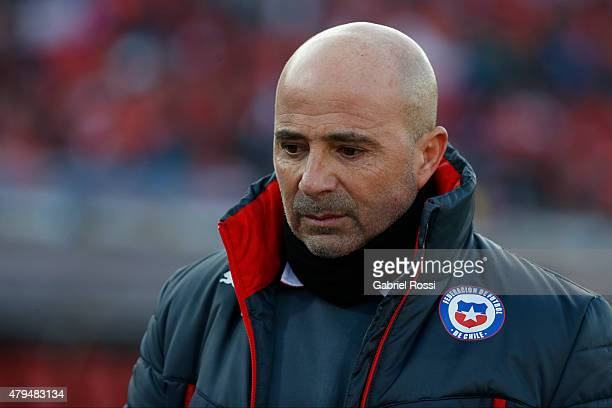 Jorge Sampaoli coach of Chile looks on during the 2015 Copa America Chile Final match between Chile and Argentina at Nacional Stadium on July 04 2015...