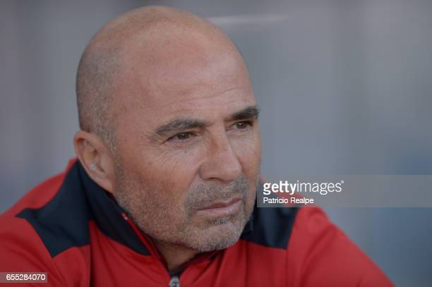 Jorge Sampaoli coach of Sevilla looks on prior the La Liga match between Club Atletico de Madrid and Sevilla FC at Vicente Calderon Stadium on March...