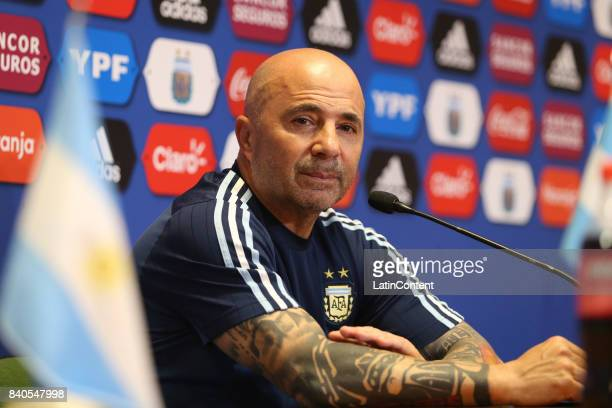 Jorge Sampaoli looks on during a press conference at 'Julio Humberto Grondona' training camp on August 29 2017 in Ezeiza Argentina