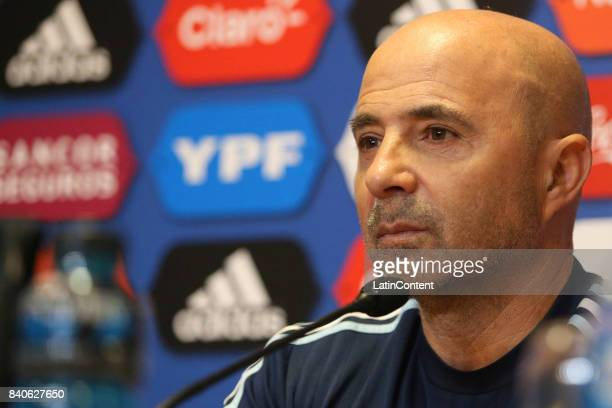 Jorge Sampaoli speaks during a press conference at 'Julio Humberto Grondona' training camp on August 29 2017 in Ezeiza Argentina