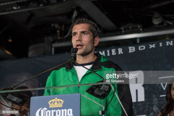Jorge Sebastian Heiland speaks to the press during the Adrien Broner vs Mikey Garcia Final Press Conference at the Dream Hotel July 27 2017 in New...