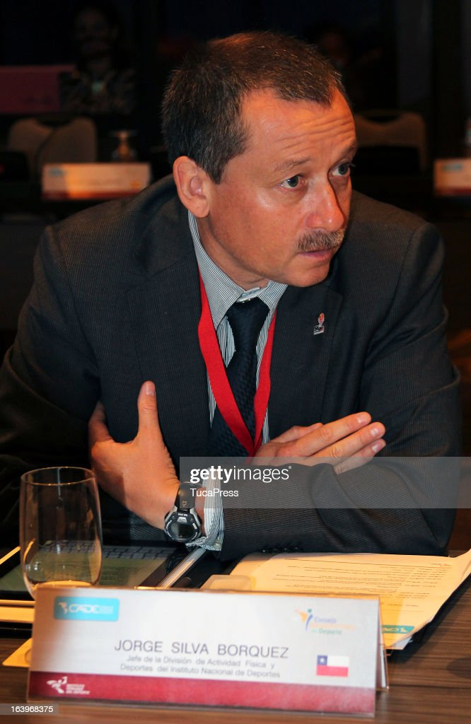 Jorge Silva talks during the presentation of the XV Gimnasiada 2013 as part of XIX Sports Minister of America and Iberoamerica Meeting Organized by CID (which stands for Consejo Iberoamericano del Deporte) at Hilton Hotel on March 18, 2013 in Lima Peru.