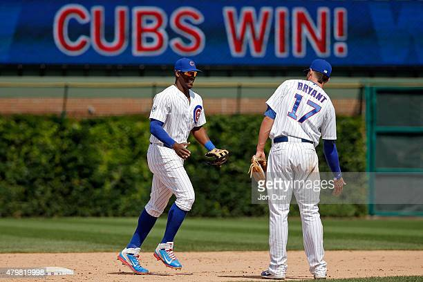 Jorge Soler of the Chicago Cubs and Kris Bryant celebrate their win over the St Louis Cardinals at Wrigley Field on July 7 2015 in Chicago Illinois...