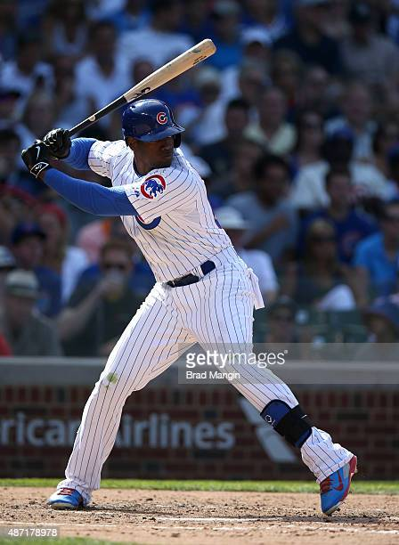 Jorge Soler of the Chicago Cubs bats during the game against the San Francisco Giants at Wrigley Field on Friday August 7 2015 in Chicago Illinois